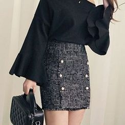 Seoul Fashion - Faux-Pearl Button Tweed Mini Skirt