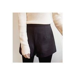 CHERRYKOKO - Zip-Side Wool Blend Shorts