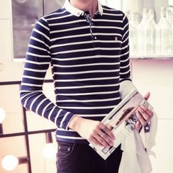 KANGI - 长袖条纹马球衫