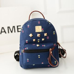 Bam's - Studded Printed Canvas Backpack