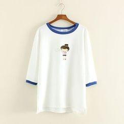 Mushi - Cartoon Print Tipped 3/4 Sleeve T-Shirt