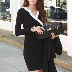 Ranee - Long-Sleeve Contrast-Color Sheath Dress