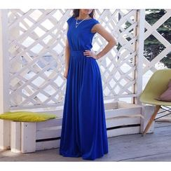 Dream a Dream - Cap Sleeve Gathered Waist A-Line Maxi Dress