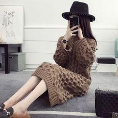 efolin - Turtleneck Chunky Knit Dress
