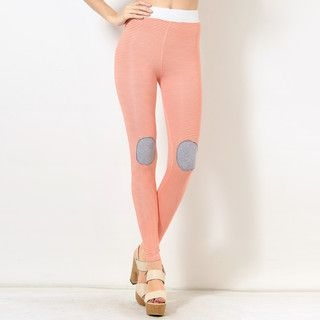 YesStyle Z - Knee-Patch Striped Leggings