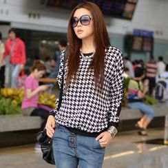 SO Central - Houndstooth Panel Knit Top