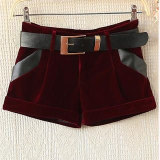 Ringnor - Faux-Leather Trim Cuffed Velvet Shorts