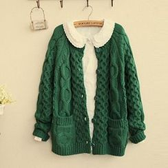 FR - Cable Knit Collared Cardigan