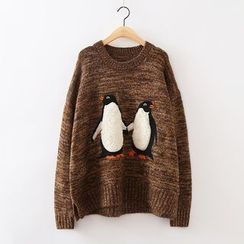 ninna nanna - Penguin Applique Collared Sweater