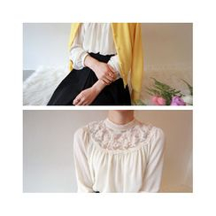 LEELIN - Lace Sheer-Yoke Chiffon Blouse