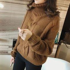 Little V - Turtleneck Cable Knit Sweater
