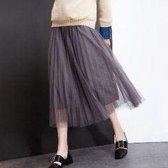 Halona - Mesh Pleated Skirt
