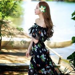 粉红大布娃娃 - 印花沙滩裙