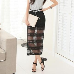 Koo - Sheer Lace Maxi Skirt
