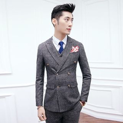 Besto - Set: Plaid Double Breasted Blazer + Suit Vest + Dress Pants