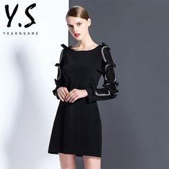 Y:Q - 蝴蝶結裝飾長袖直身連衣裙