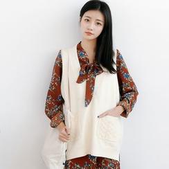 Forest Girl - 麻花针织口袋针织马甲
