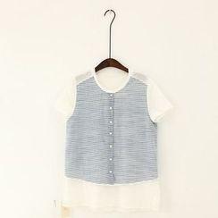 11.STREET - Stripe Panel Short-Sleeve Blouse