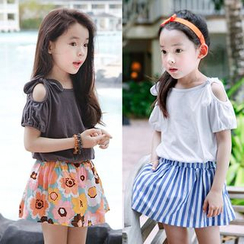 Seashells Kids - Kids Set: Cold Shoulder Short-Sleeve T-Shirt + A-Line Skirt