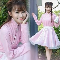Ebbie - 配色边长袖A字旗袍