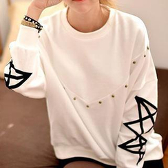 Lina - Drop-Shoulder Studded Sweatshirt