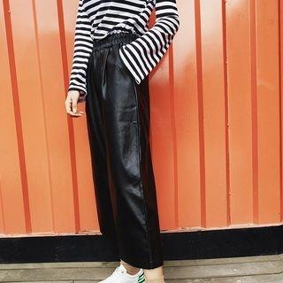AMELA - Faux Leather Wide Leg Pants