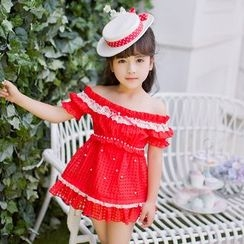 Candy Rain - Kids Lace Trim Faux Pearl Off Shoulder Dress