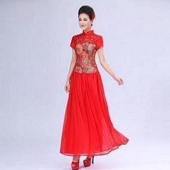 Luxury Style - Set: Cap-Sleeve Embroidered Cheongsam Top + Layered Maxi Skirt