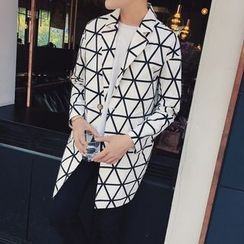 JORZ - Geometric Pattern Single-Breasted Coat