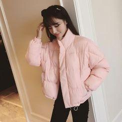 千色衣站 - 純色夾棉拉鏈夾克