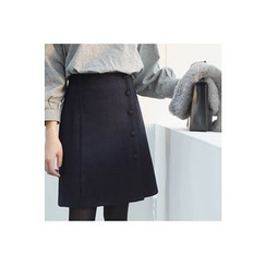CHERRYKOKO - Buttoned Wool Blend A-Line Mini Skirt