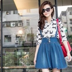 PUFII - Denim Jumper Skirt
