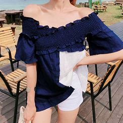 migunstyle - Off-Shoulder Color-Block Top