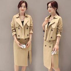 Elinor - Set: Double Breasted Jacket + Slit Midi Skirt