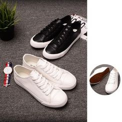 Chuoku - Plain Lace-Up Sneakers