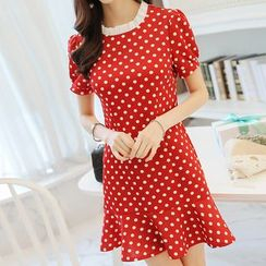 YUMU - Short-Sleeve Dotted Dress