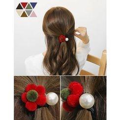soo n soo - Pompom Flower Faux-Pearl Hair Tie