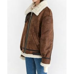 Someday, if - Zip-Up Faux-Shearling Jacket