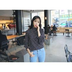 Envy Look - Mandarin-Collar Floral Pattern Blouse