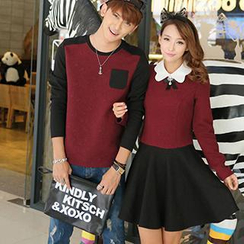 Hanee - Couple Contrast-Collar Embossed Panel Dress (with brooch) / Embossed Panel Top