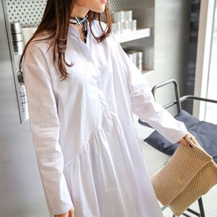 PPGIRL - Half-Placket Long Shirtdress