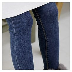 Sechuna - Washed Brushed Fleece Skinny Jeans