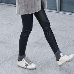 STYLEBYYAM - Faux-Leather Brushed Fleece Leggings