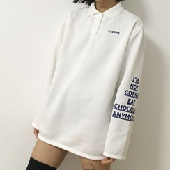 Melon Juice - Lettering Long Sleeve Polo Shirt