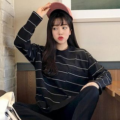 MICHYEORA - Long-Sleeved Striped T-Shirt