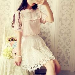 Cobblestone - Lace-Panel Ruffled Blouse