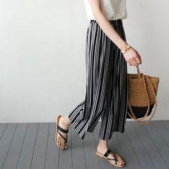 STYLEBYYAM - Drawstring-Waist Stripe Wide-Leg Pants