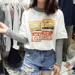 Fashion Street - Mock Two-piece Stripe Print Long-Sleeve T-shirt
