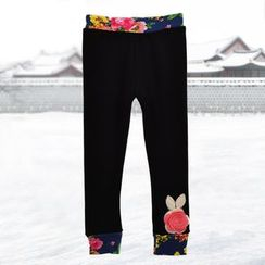 Emperial - Kids Floral Panel Fleece-lined Pants
