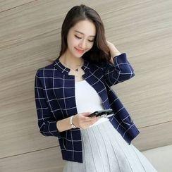 Hanaya - Check Loose-Fit Color-Block 3/4-Sleeve Cardigan